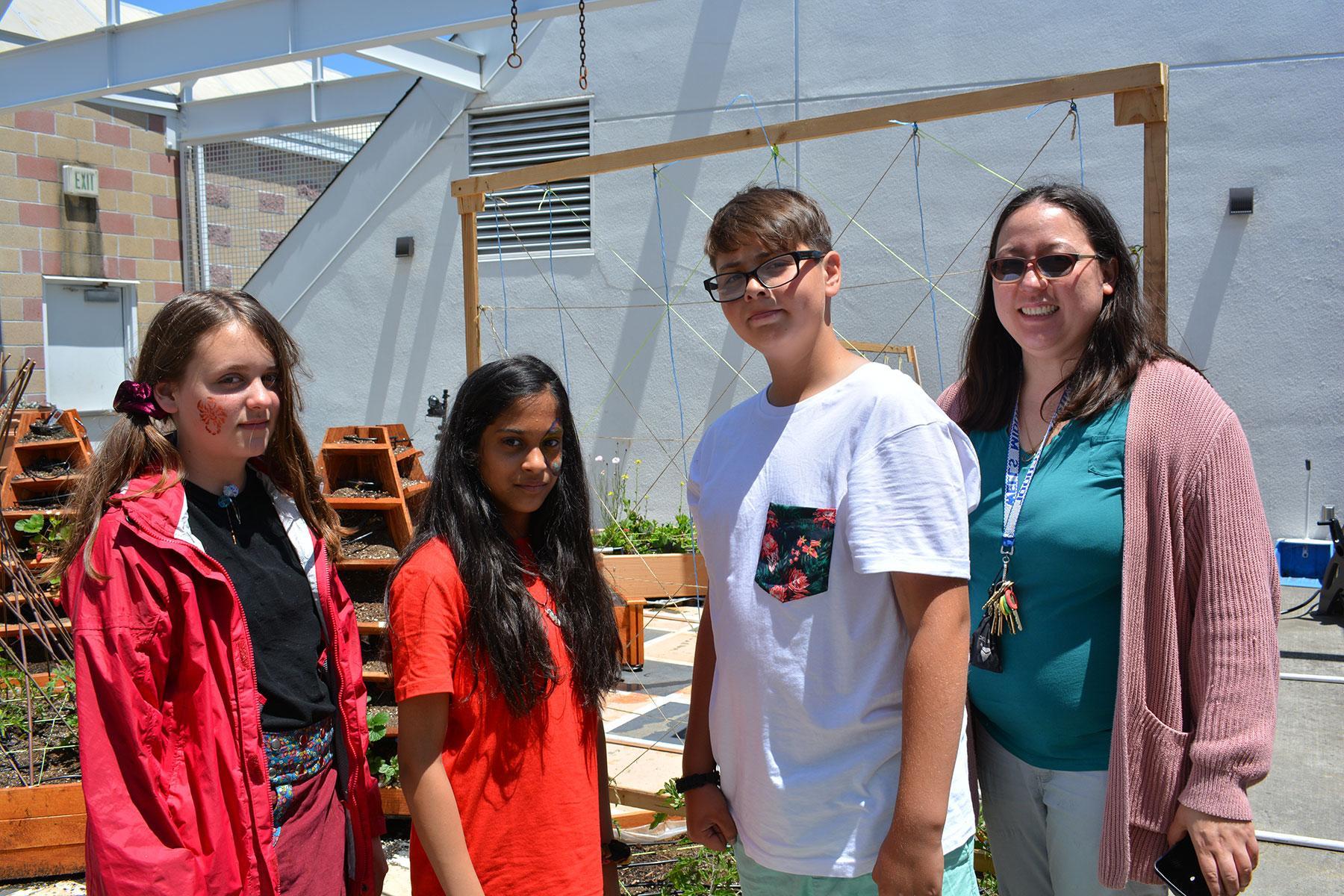Teacher Priscilla Barton with WMS Students